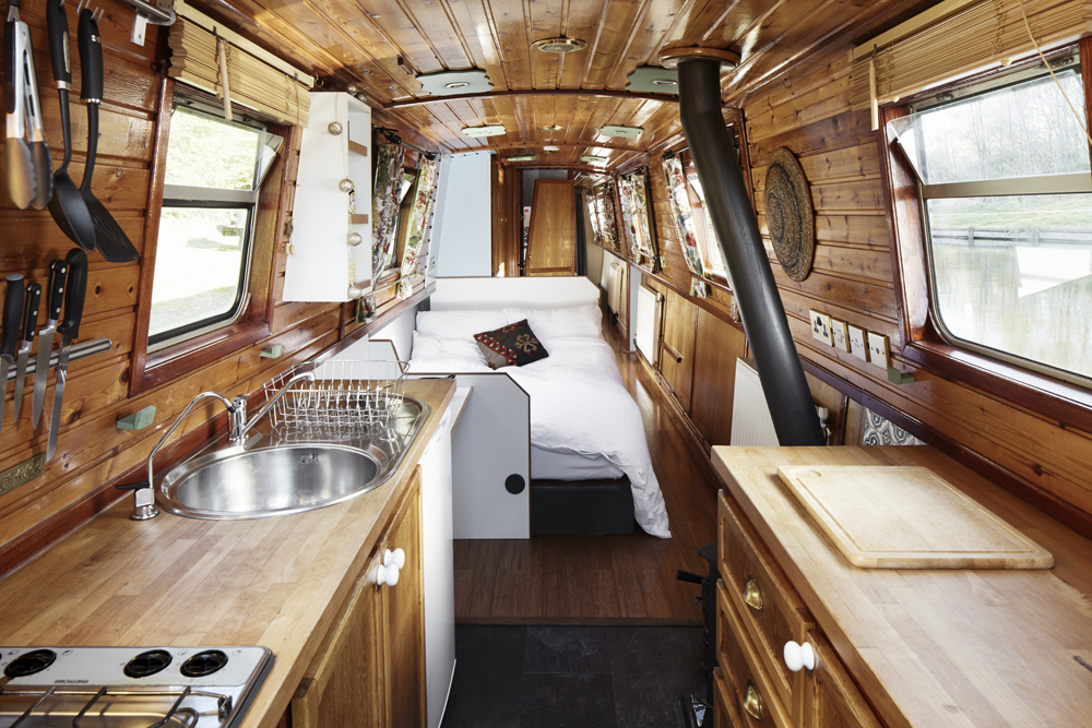 The interior of the narrowboat Gloria is stylish and comfortable.